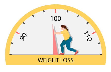 Fat woman struggling with an arrow of weights. A woman who is very hard to lose weight. Imagens - 120282143