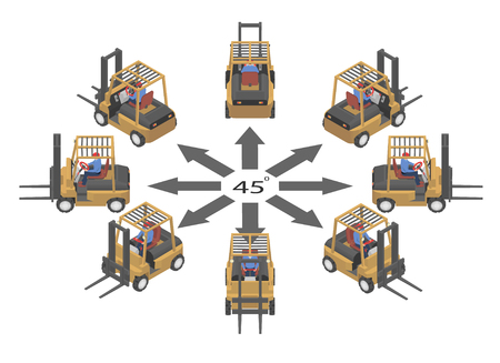 Rotation of the forklift by 45 degrees. Forklifts and drivers in isometric. Banco de Imagens - 120282145