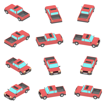 Animation of the rotation pickup truck in isometric view. Cartoon red pickup in 12 types.