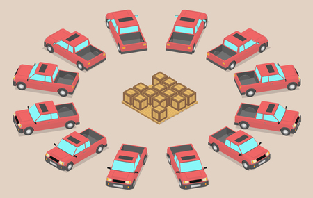 Twelve identical red cars are parked around the boxes. Pickup trucks waiting to be loaded. Ilustração