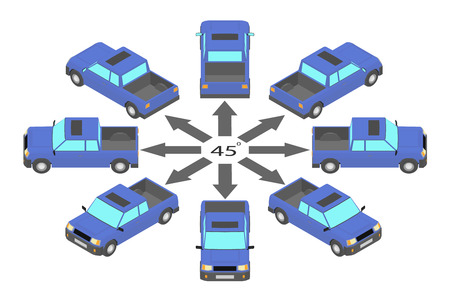 Rotation of the pickup truck by 45 degrees. Blue pickup in different angles in isometric.