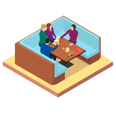 Friends drink beer at a table in a bar. Friends clink glasses with beer in isometric.