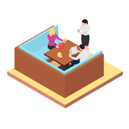 Young couple looking at the menu. The waiter writes in an order in a notebook in isometric.