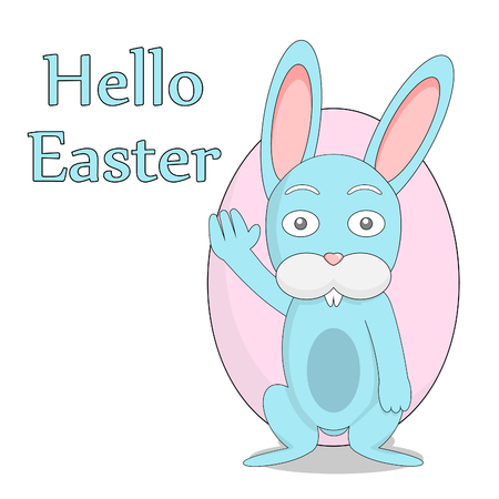 Easter eggs on the background of Easter eggs. Blue rabbit with easter egg.