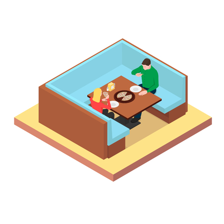 A young couple are sitting at a table and eating pizza. Restaurant with pizza. Ilustração