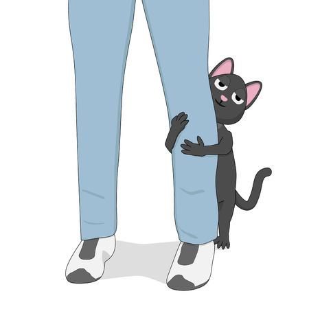 Gray cat hugs the leg of a man. Cute cartoon cat and his friend. Ilustração