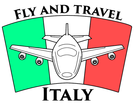 Logo travel to Italy. Airplane on the background