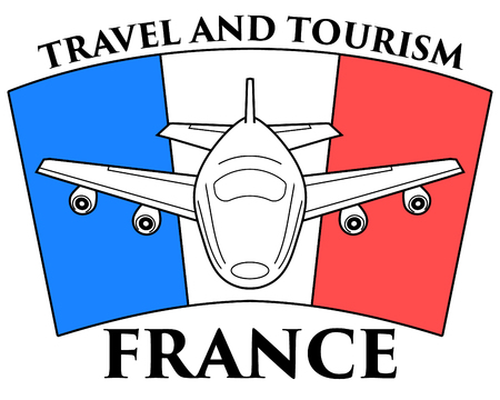 Logo travel to France. Airplane on the background of the French flag. Ilustração