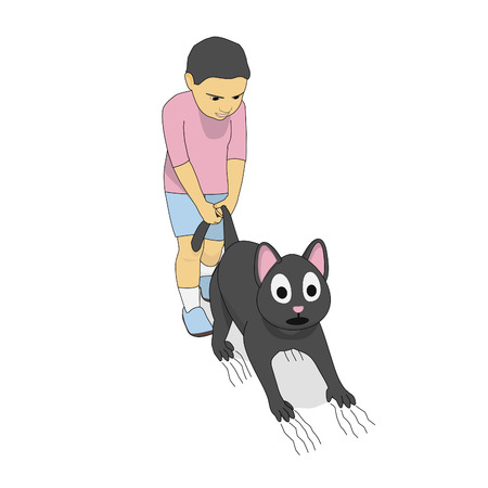 Boy pulls cat's tail. A little boy and a gray cat play together. Illustration