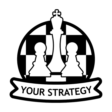 Business logo with chess pieces. White king and pawns on a chessboard. Ilustração