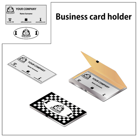 A card holder in a chess style. Business card with a box and logo in isometric. Banco de Imagens - 120977517