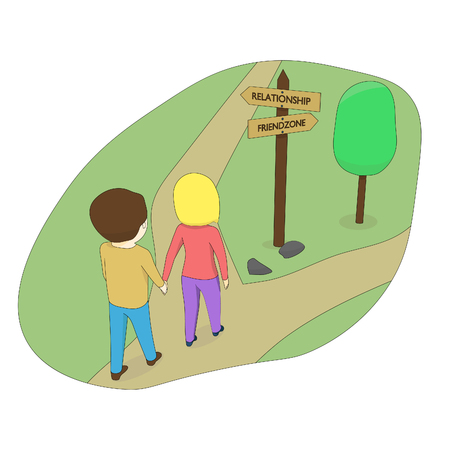 The boy and girl choose the road. The girl is on the road. Ilustração