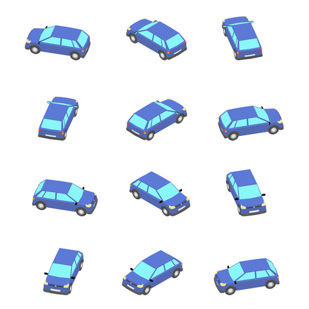 Isometric view. Blue hatchback with different viewing angles.