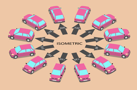 Twelve parked cars of different colors. Hatchbacks in isometrics in different angles.