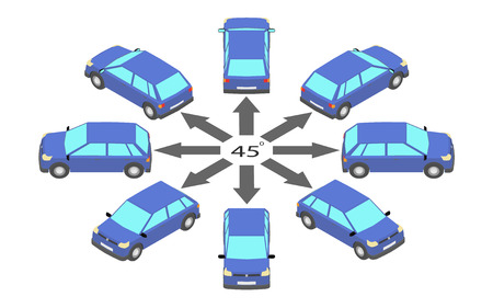 Rotation of the hatchback by 45 degrees. Blue car in different angles in isometric. 向量圖像