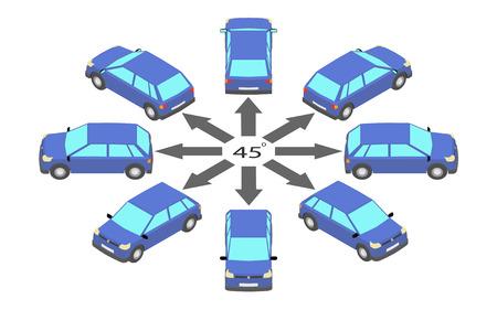 Rotazione della berlina di 45 gradi. Automobile blu in diverse angolazioni in isometrica. Vettoriali