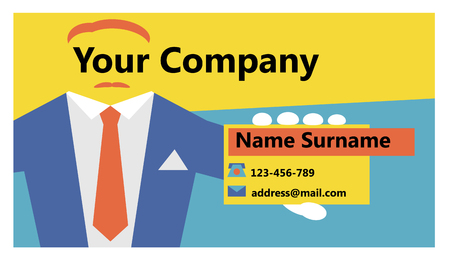 Bright business card in the youth style. Business card which depicts an abstract man with a mustache.