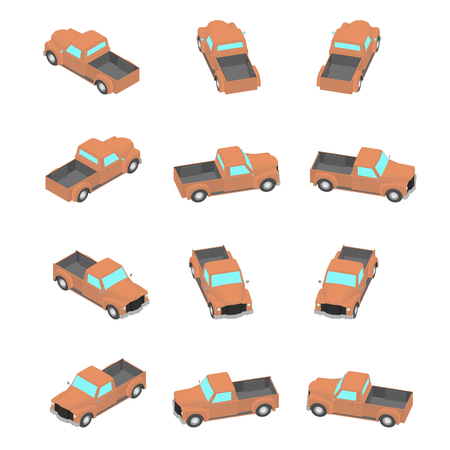 Animation of the retro pickup truck in isometric view. Cartoon orange pickup in 12 types.
