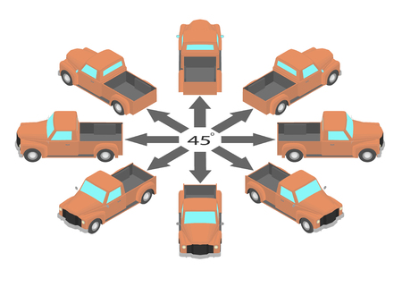 Rotation of the retro pickup truck by 45 degrees. Orange pickup in different angles in isometric.