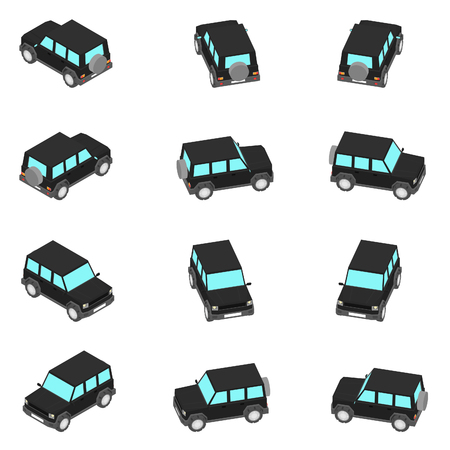 Animation of the SUV in view isometric. The off-road vehicle with different viewing angles. Ilustração