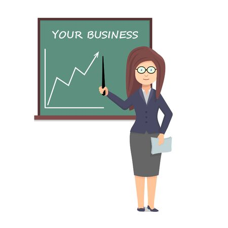 Woman shows a pointer to the chart. Businesswoman gives a presentation at the chalkboard.