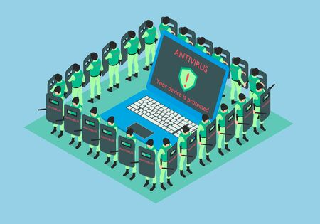 The laptop is protected by antivirus. Around the computer are people in uniform.
