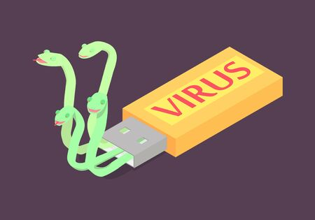 Computer virus on flash usb drive. Abstract snakes crawl out of a flash drive. Ilustração