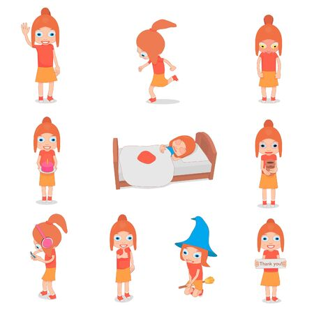 Set of girls stickers. Little funny girl in different poses.