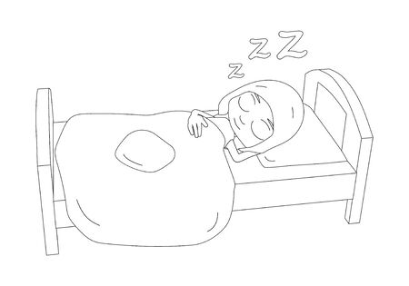 The girl is sleeping on the bed. Cute cartoon character in outline. Ilustração