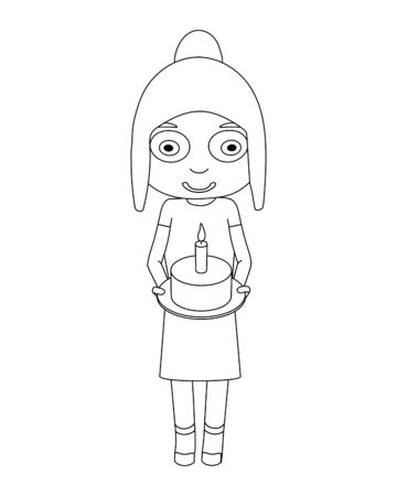 The contour of the girl with a cake. Cute girl holding a cake with a candle. Иллюстрация