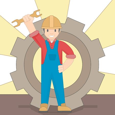 Cartoon worker on a gear background. The builder holds his hand.