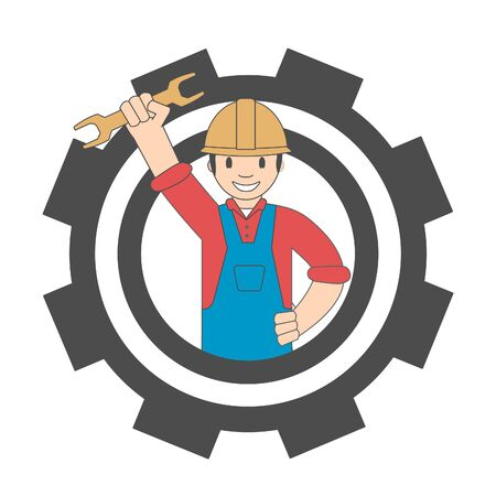 Logo of a worker with a wrench and gear. Cartoon icon handyman. Иллюстрация