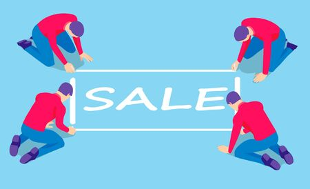 Four men write with chalk on the floor. Men wrote the word sale, isometric.  イラスト・ベクター素材
