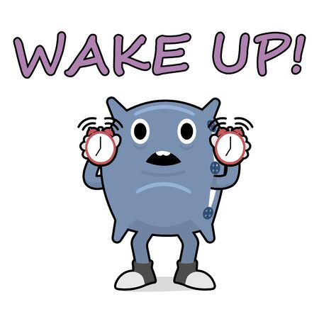 A funny pillow holds two alarm clocks in its hands. The cartoon character symbolizes a friend who wakes you up. Ilustração