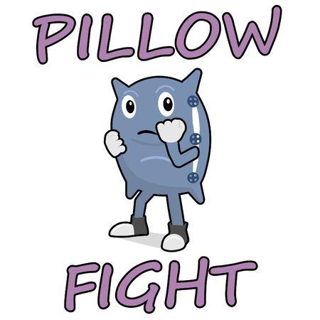 Cuscino che si prepara per la lotta con i cuscini. Cuscino del fumetto in rack di boxe.