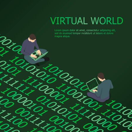 Two men are in the virtual world. Programmers exchange information using binary code.
