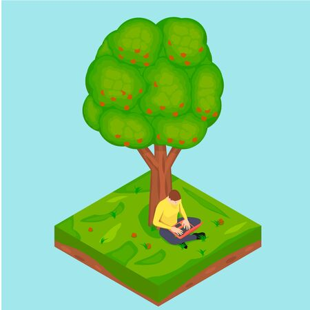 A man is sitting by an apple tree with a laptop. Freelancer is working outdoors using his laptop in isometric.