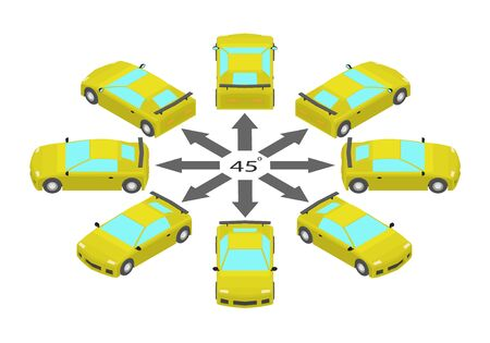 Rotation of the sport car by 45 degrees. Yellow sports car in different angles in isometric.