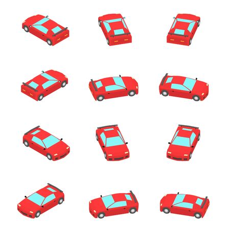 Animation of the rotation sport car in isometric view. Red car coupe with different viewing angles.
