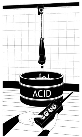 Un hombre atado está colgado en la piscina con ácido. Un hombre usa un control remoto para la ejecución.