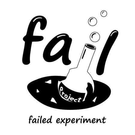 Broken flask with a science project. A broken flask is a symbol of a failed experiment.