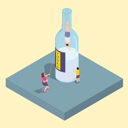 Woman tries to save her husband from alcoholism. The boy looks as his father degrades in a bottle. Ilustração