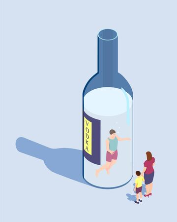 A man cannot stop drinking. The man is swimming in a bottle of vodka and his family is looking at him.