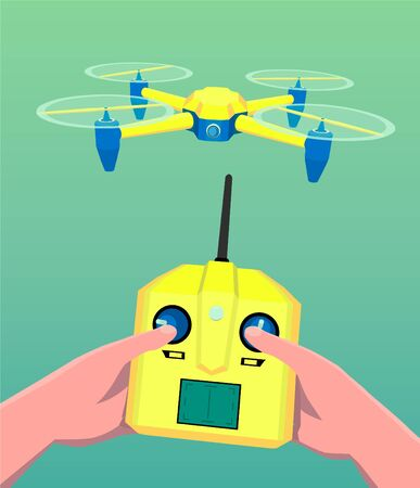 A man controls a drone. Hands holding quadrocopters controller.