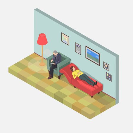 The psychologist is counseling a woman in isometric. The woman on the couch is a psychologist, she wants to solve her mental problems.