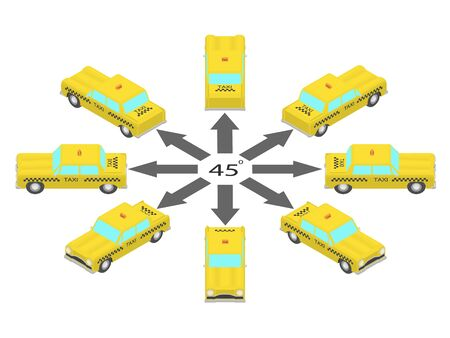 Rotation of the taxi car by 45 degrees. Cab in different angles in isometric.