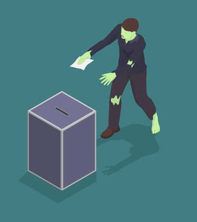 Zombie is trying to vote, unfair voting. The dishonest candidate uses the votes of dead people to win the election. Vektorgrafik