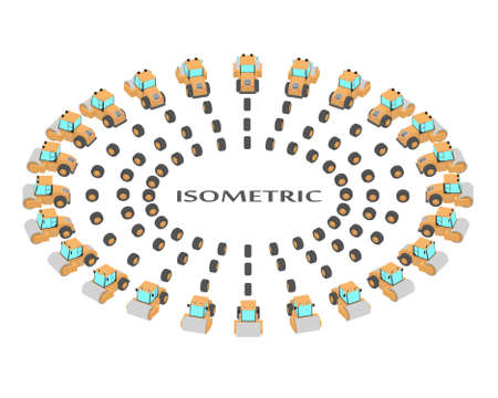 A set of 24 road rollers from different angles. Animation of the rotation of a roller vehicles by 15 degrees. The wheels are animated for the movement of the roller. Illusztráció