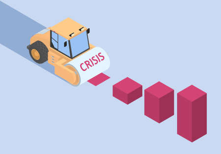 Roller and histograms in isometric. The road roller is a symbol of the crisis and it is destroying the economy. Vettoriali