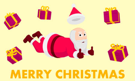 Cartoon Santa Claus is falling with gifts. Happy Santa Claus is flying to give presents everyone.